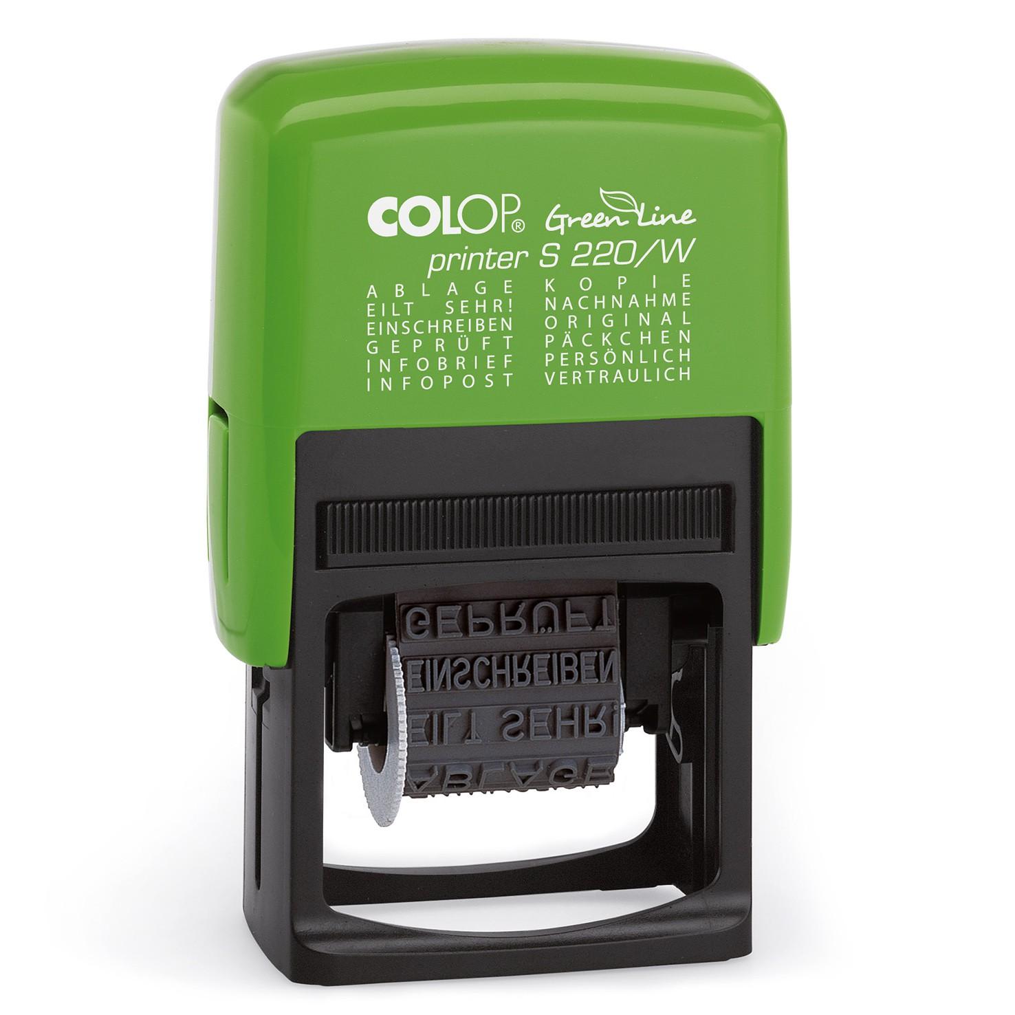 colop green line printer 12in1 stempel mit 12 fertigen stempeltexten s220 w wortbandstempel. Black Bedroom Furniture Sets. Home Design Ideas